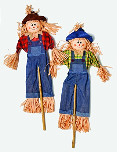 "Worth Imports 48"" Scarecrow On Stick, Set of 2"
