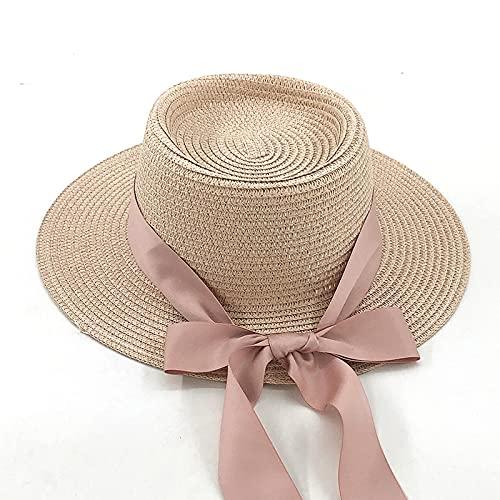 NJJX Sombrero De Paja Natural Hecho A Mano Sombrero De Playa De Verano para Mujeres Hombres Gorra De Panamá Moda Visera De Protección Plana Cóncava Sombreros De Barco para El Sol M56-58Cm Rosa