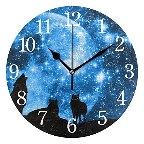 WowPrint Reloj de pared, diseño de galaxia, luna, lobo de noche, acrílico, redondo, sin garrapatas, pintura decorativa para oficina, aula, hogar, dormitorio, sala de estar, baño, cocina, decoración
