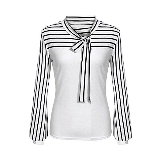OVERDOSE Frauen Tie-Bow Neck Striped Langarm Spleiß Shirt Bluse Damen Frühling Sommer Hemd T-Shirt Oberteil (A-White,M)