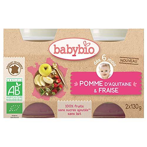 Babybio Petits pots pomme fraise 2x130g