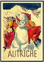 オーストリア観光旅行風景ポスター冬の喜びオーストリアクラシックキャンバスヴィンテージポスタースキー雪だるまプリント絵画装飾写真40x60cmフレームなし