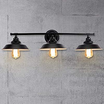 LMSOD 3 Lights Bathroom Vanity Light, Black Vintage Industrial Wall Sconce Lighting Fixture Fashion Simplicity Metal Based