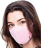エリナム、ライトエアーマスク・フィルターとストレッチ耳かけ付きの軽量フェイスマスク、アウトドアのアクティビティ、サイクリング、旅行に適した繰り返し使えるマスクです。2つのフィルターと耳が痛まないよう、ヘッドクリップが付いています。(L, Cloudy Pink)