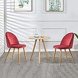 TUKAILAI 2 sillas de comedor tapizadas de tela de terciopelo rojo vino