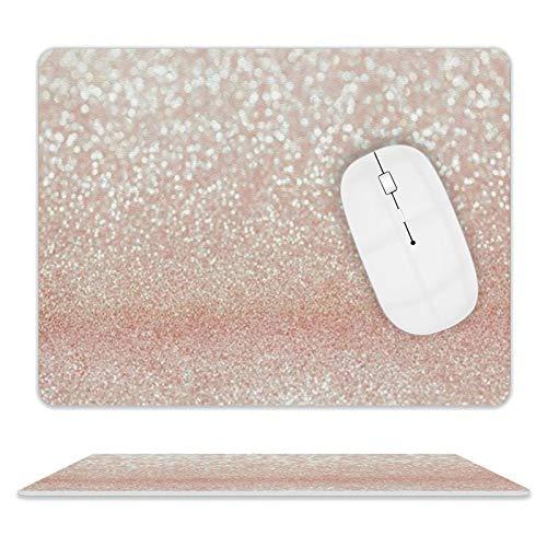 Alfombrilla de ratón de piel con purpurina rosa para escritorio y portátil, 25 x 20 x 2 cm