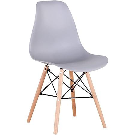 Lucky Factory Lot de 4 chaises de Salle à Manger scandinaves, Chaise de Cuisine Salle à Manger Design scandinave Pieds en Bois de hêtre Massif(Gris)