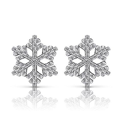 Romote in argento Sterling fiocco di neve orecchini a perno in argento 925con zirconi Eearring