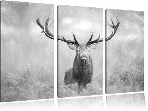 Pixxprint Großer Hirsch im Feld Kunst / 3-Teilig/Gesamtmaß 120cm Leinwandbild bespannt auf Holzrahmen/Wandbild Kunstdruck Dekoration