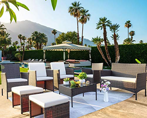 JUMMICO Patio Furniture 8 Piece Patio Conversation Sets Outdoor Wicker Rattan Patio Furniture with Cushions and Coffee Table Patio Furniture Sets for Yard, Garden, Poolside (Beige)
