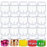 20 Pack 4oz Plastic Empty Jars with Lids,Round Cosmetic Containers,Clear Empty Storage Container for Candy,Beads,Lotion,Slime Making,Crafts,Creams,Butters,Gifts