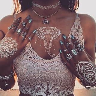 6 Sheets White Henna Temporary Tattoo,Flash Fake Waterproof Body Tattoos Stickers, Henna Tattoos Stickers