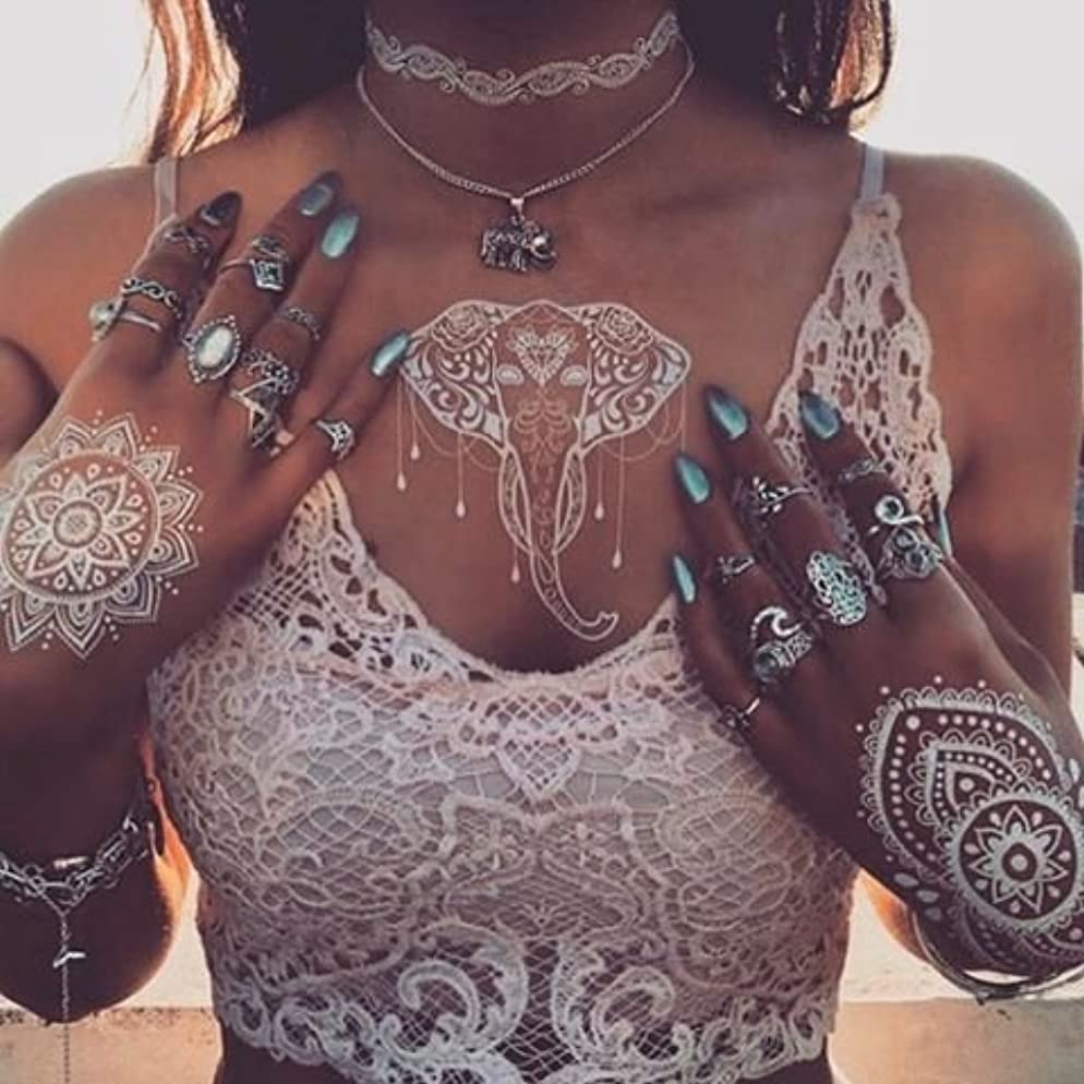 6 Sheets White Henna Temporary Tattoo,Flash Tattoos, Henna Tattoos Stickers