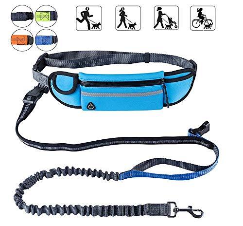 Bungee WEI handsfree voor honden, met tas, verstelbaar, riem, schokabsorberend, Waist size 70-120CM, Blauw