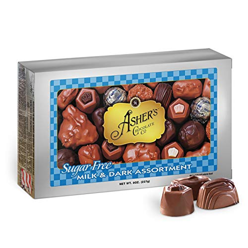 Asher's Chocolates, Sugar Free Chocolate Candy, Milk and Dark Chocolate Assortment, Small Batches of Kosher Chocolate, Family Owned Since 1892, Assorted Keto Chocolates (8 oz.) from Ashers
