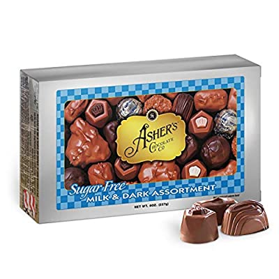 Asher's Chocolate, Sugar Free Chocolate Candy, Milk and Dark Chocolate Assortment, Small Batches of Kosher Chocolate, Family Owned Since 1892, Assorted Keto Chocolate (8 oz.)