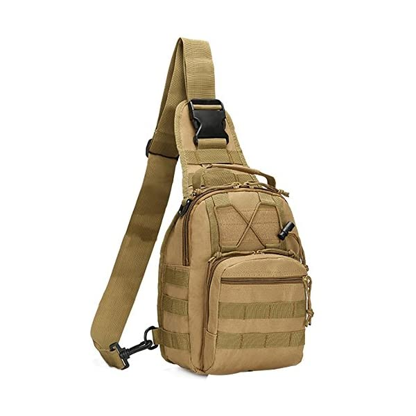 51K98aalk1L. SS600  - COOLEAD Mochila Militar Hombre Triangular Crossbody Bandolera Táctica Impermeable Portátil Bolso Pecho Durable Tela…