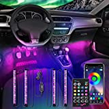 AMBOTHER Interior Car Lights LED Strip Light Atmosphere Upgrade Two-Line Design 4PCS APP IR Control Box Waterproof Multicolor Music Under Dash 48 LEDs Strip Lighting for Car with Car Charger, 12volt