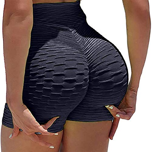 2PC Famosos TIK Tok Leggings Shorts,Panal Anti Celulitis Leggings De Cintura Alta Pantalones De Yoga Levantamiento De Pantalones De Correr Medias-Negro a S