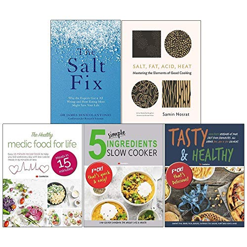 Price comparison product image The Salt Fix,  Salt Fat Acid Heat [Hardcover],  Healthy Medic Food For Life,  5 Simple Ingredients Slow Cooker,  Tasty And Healthy 5 Books Collection Set