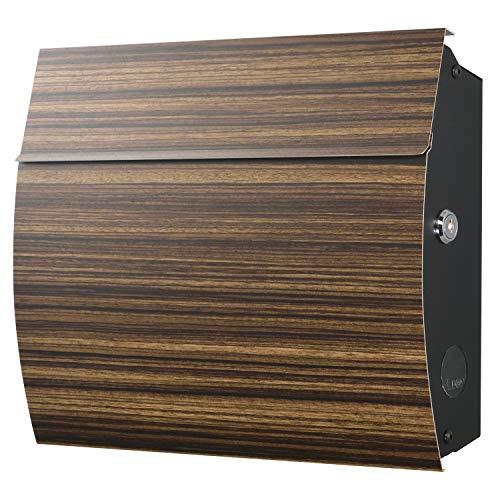 LEON (レオン) MB4801 ブラックエディション 郵便ポスト 壁掛けタイプ ステンレス製 鍵付き おしゃれ 大型 ポスト 郵便受け ゼブラ