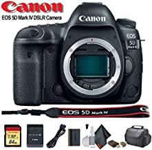 Canon EOS 5D Mark IV DSLR Camera (1483C002) with 64GB Memory Card, Case, Cleaning Set and More - International Model - Starter Bundle