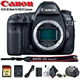 Canon EOS 5D Mark IV DSLR Camera (1483C002) with 64GB Memory Card, Case, Cleaning Set and More - Starter Bundle