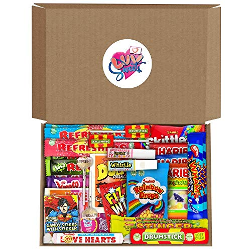 Retro Sweets Hamper Gift Box from Luv Sweets. Perfect Gift for Him & Her. Packed with Childhood Sweetshop Classics. Suitable for All Occasions inc Birthdays, Congratulations, Thank You, Anniversaries.