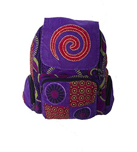 KUNST UND MAGIE Bunter Hippie Rucksack 'Spirale', Farbe:Lila