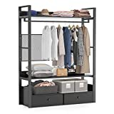 Tribesigns Free-Standing Closet Organizer,Heavy Duty Clothes Rack with 6 Shelves and Double Drawers, Large Closet Storage Stytem & Closet Garment Shelves (Black)