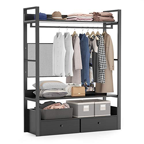 Tribesigns Free-Standing Closet OrganizerHeavy Duty Clothes Rack with 6 Shelves and Double Drawers Large Closet Storage Stytem Closet Garment Shelves Black