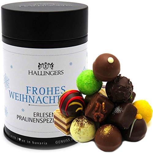 Hallingers 12 Pralinen handgemacht, mit/ohne Alkohol (150g) - Frohes Weihnachtsfest (Premiumdose) - zu Weihnachten Danke