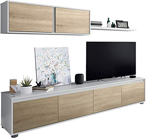 Mobelcenter - Mueble de salón Moderno Alida - Módulo TV, Módulo Superior y Estante - Acabado en Color Blanco Artik y Roble Canadian - Medidas: Ancho: 200cm x Alto: 43 cm x Fondo: 41 cm – (0903)