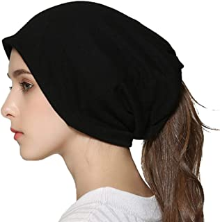 Muryobao Winter Warm Beanie Soft Baggy Knit Skull Ponytail Hats Sleep Chemo Caps Neck Dual