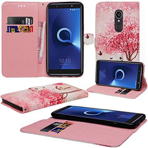 Alcatel 3C Hülle, Mobile Stuff Alcatel 3C Hülle [Kartenhalter] [Magnetverschluss] Premium Leder Flip Wallet Hülle Cover für Alcatel 3C 5026A 5026C Smartphone (Pink Tree Hut)