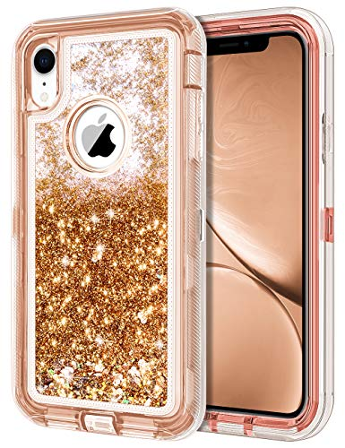 JAKPAK Case for iPhone XR Case Glitter Bling Sparkle for Girls Woman iPhone XR Case Heavy Duty Shockproof Full Body Protective Shell Hard PC Bumper and TPU Back Cover for iPhone XR 10R Rose Gold