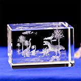 Crystal Dinosaur Statue 3D Laser Crystal Glass Cube Dinosaur Gift Paperweight Engraving Figurines Art with Gift Box Feng Shui Souvenirs Crafts Home Decoration