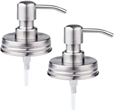 The Southern Jarring Co. Brushed Stainless Steel Mason Jar Liquid Soap Dispenser Lids - Rustproof - Modern Farmhouse Soap Pumps for The Kitchen and Bathroom (2-Pack)