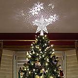 BIOBEY Adorno de árbol de Navidad Decoración Ligera Luz de proyector Estrella LED RGB Brillante Proyector de Forma de Estrella ahuecada Ajustable Adorno Luces Decoraciones del Festival de Navidad