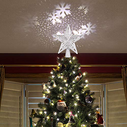 Haavpoois Christmas Tree Toppers Decoration Star Projector Light Glittering LED RGB Hollow Out Indoor Ornament Lights for Her