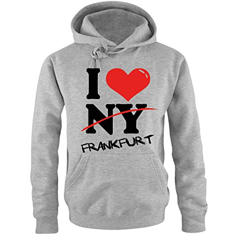 Comedy Shirts I Love Frankfurt - NOT NY - Herren Hoodie in Grau Gr. L