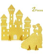 2 Piezas Decoración de Mesa de Castillo Princesa Centro de Mesa Princesa Brillante Decoraciones de Mesa de Príncipe y Princesa para Cumpleaños Baby Shower Boda Fiesta de Compromiso