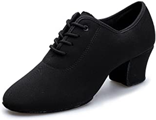 DLisiting Latin Dance Shoes Womens Black Oxford Cloth Ballroom Modern Dance Shoes
