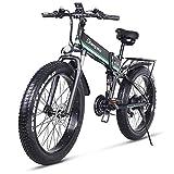 1000W Bicicleta el/éctrica para Hombre Mountain Mountain Ebike 21 Velocidades 26 Pulgadas Fat Tire Road Bicycle Beach//Snow Bike con Freno de Disco hidr/áulico y Horquilla Verde