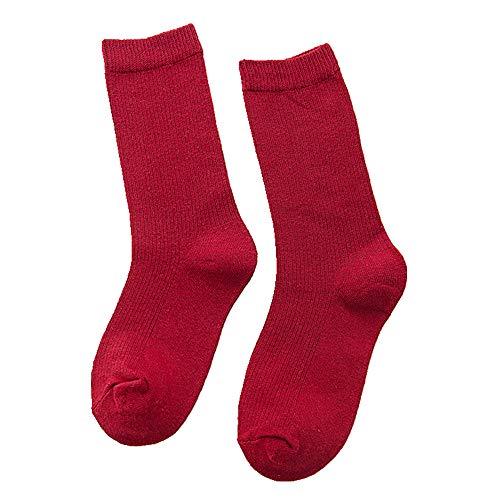 Color sólido de las mujeres de la pila calcetines de color caramelo medio alto tubo calcetines otoño e invierno cinco piezas