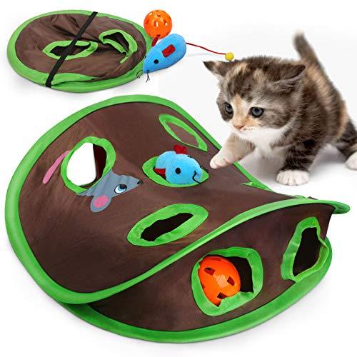 Vanplay Giocattoli Gatto Tunnel con Nove Fori per Gatti Pieghevole Gioco Gatto Interattivo Accessori con Topi & Palla per Piccoli Animali