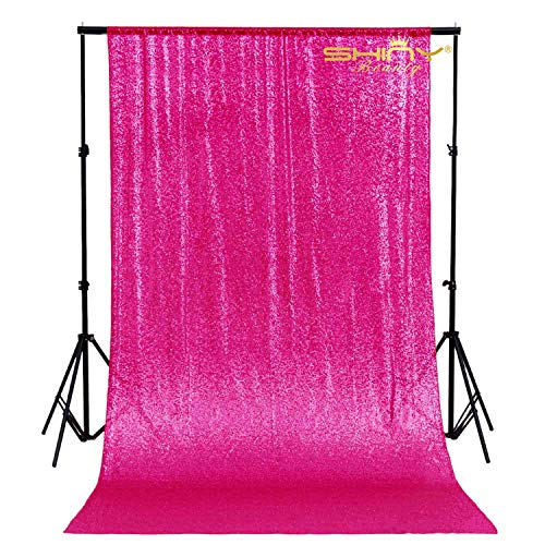 Fuchsia-Photo Booth Wedding Props-Sequin Fabric Backdrops Sweets for Weddings Party Curtains Decorations-2FTx7FT (Fuchsia)