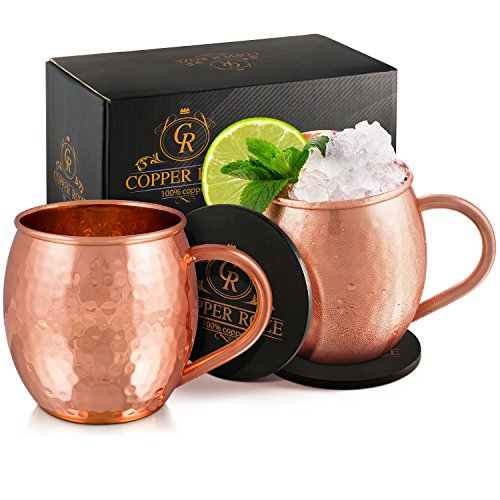 Copper Roze Moscow Mule Copper Mugs Gift Set of 2 Copper Mule Mugs and 2 Coasters, 100% Pure Solid Copper Cups with Hammered Finish