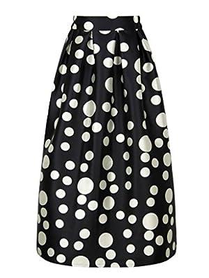 PERSUN Women's Casual Contrast Polka Dots Print Long Maxi Skater Skirt w/Pockets