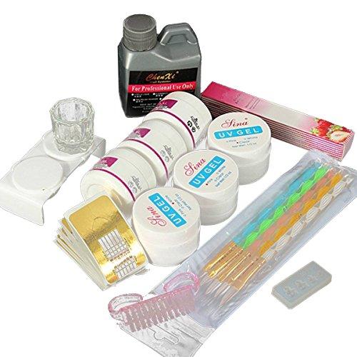 Nail Art UV Gel - TOOGOO(R)Acrylic Nail Art Set Liquid Polymer Powder UV Gel Tips Forms Manicure Tool Kit Nail Gel by TOOGOO(R)